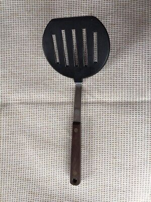 "Vintage Ekco Flint Vanadium Spatula 11"" Slotted Black Nylon ~ Wood Handle"