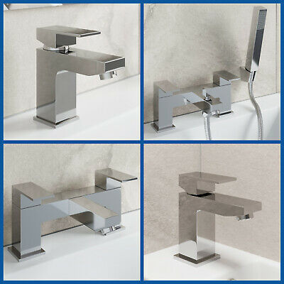 Bathroom Tap Sets Modern Square Mono Basin Mixer Bath Filler Shower Mixer