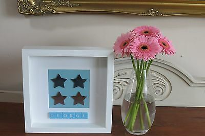 Personalised Picture Stars New Baby /christening /nursery In 3D Box Frame Gift