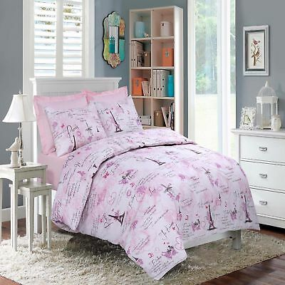 French Inspired Paris Eiffel Pink Duvet Quilt Cover Set & Pillowcases Double
