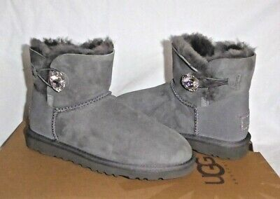 1b1a39bb5ce UGG MINI BAILEY BUTTON BLING SWAROVSKI CRYSTAL GREY GRAY US 5 New
