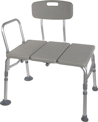 Drive Medical Plastic Tub Transfer Bench with Adjustable Backrest. New-open box