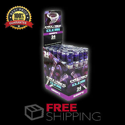 Box 24 Cyclones Clear Grape Pre Rolled Cones 2 Per Tube Free Shipping