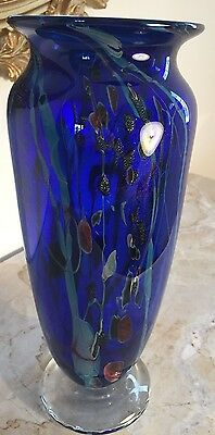Stunning Handcrafted Blown Glass Vase By George O'grady - 2004 - Mint !!