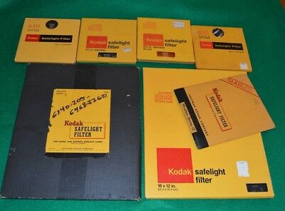"Lot of 7  Kodak Filters Darkroom Safelight 8 x 10 Rectangle - 5.5"" Round"