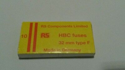 HBC type F fuses, RS Components 413 - 232, 7A, 32mm x 6.5mm