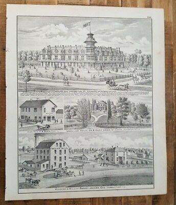 Engraving - ILLINOIS - Highland Hall/Res. of Daniel Jacobs - Warner & Beers 1876