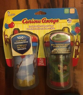 Gerber Graduates Lot of 2 Insulated Sippy Sippie Cup Curious George NEW