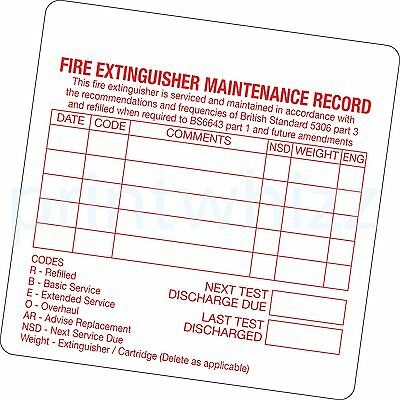 6x Fire Extinguisher Maintenance Record Sticker Printed Vinyl Label Factory Shop