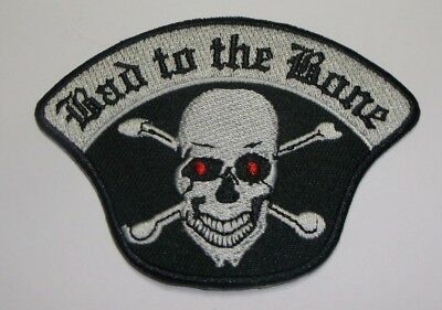 Bad to the Bone~Skull Biker Motorcycle Patch~3 1/2 x 2 1/2~Embroidered~Iron Sew