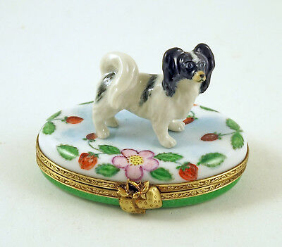 New French Limoges Trinket Box Papillon Dog Puppy On Strawberry Box