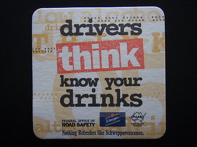 Drivers Think Know Your Drinks Federal Office Of Road Safety Schweppes Coaster