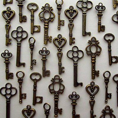 Lot of 48 VINTAGE Style ANTIQUE SKELETON FURNITURE CABINET OLD LOCK KEYS Copper