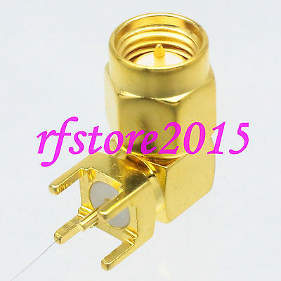 1pce Connector SMA male plug solder PCB mount RF COAXIAL Right angle