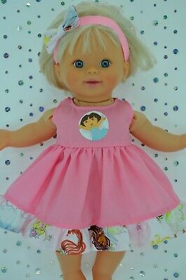 "Play n Wear Doll Clothes 13"" Little Mommy/Baby Born PATTERN/PINK DRESS~HEADBAND"