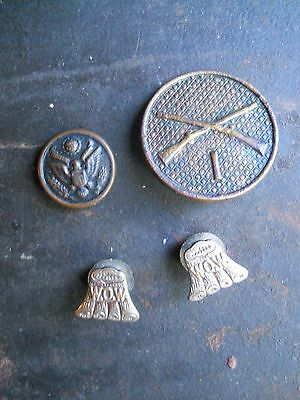 Lot Of 4 Antique Vintage Military Ww I & Ww Ii Buttons And Cuff Links