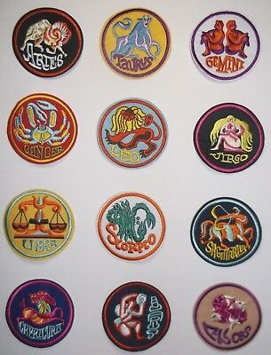 "Zodiac~Astrology~Horoscope~Patch Patches~Embroidered~2 11/16"" Round~Ships FREE"