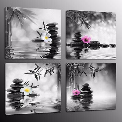 HD Canvas Prints Zen Art Wall Decor Painting Picture Bamboo Stone Flowers 4pcs
