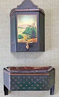 Antique French Tole Hand Painted Tin Wash Basin Planter Lavabo