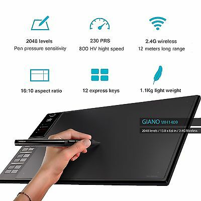 "14"" Huion WH1409 2.4G Wireless USB Graphics Pen Tablet 12 Keys 2018 Newest AU"