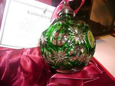 Waterford 2012 Annual Green Cased Crystal Ball Ornament~Unique~Signed & Dated