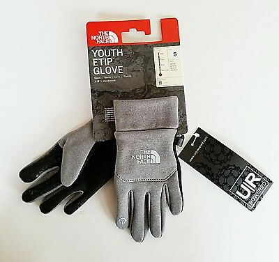 The North Face Youth Etip Gloves Grey Size SMALL for Child *NEW* MSRP $40
