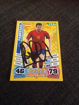 Cesc Fabregas Chelsea Spain Signed Match Attax Trading Card