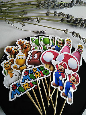 Cupcake Topper Super Mario Birthday Shower Party Pops Decor Double side  x18