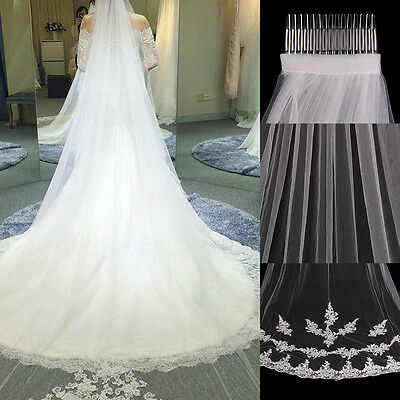 New Ivory White Cathedral Length Lace Edge Bride Wedding Bridal Veil With Comb