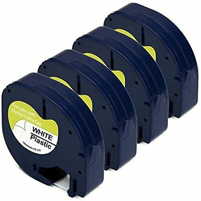 91331 Compatible For DYMO Letratag Label Tape Black Print On White, 4 Packs, 1/2