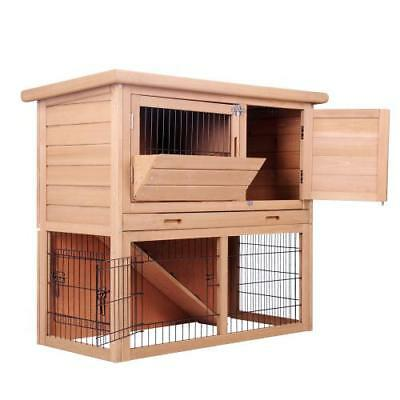 Rabbit Hutch Chicken Coop Cottage Cage Guinea Pig Ferret House w/ 2 Storeys Run