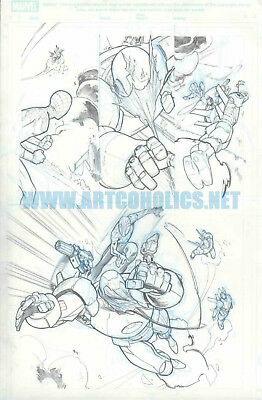 Ultimate Spiderman 17 pg 10 original ART by PEPE LARRAZ with IRON MAN Avengers