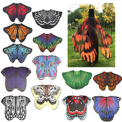 Adult Women Fabric Butterfly Wings Cloak Robe Shawl Fairy Fancy Cosplay Costumes