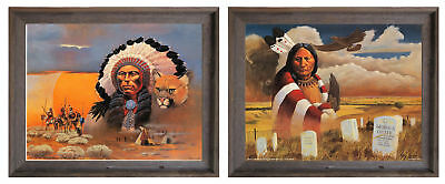 Native American Indian Chief Quanah Parker Wall Decor Mahogany Framed Picture