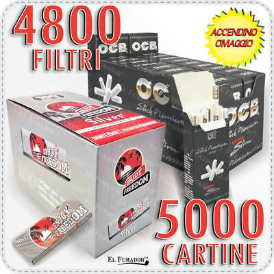 5000 Cartine ENJOY FREEDOM SILVER CORTE + 4800 Filtri OCB EXTRASLIM 5,7mm RUVIDI