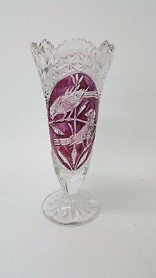 Large Decorative Cut Glass Vase with Purple Bird Detail (Box14_684)