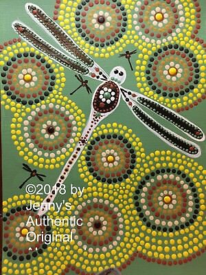 Authentic Aboriginal On Canvas Print Dragonfly On The Billabong Limited Edition