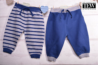 Baby Boys Joggers 2 Pack Newborn Toddlers Loungewear 100% Cotton 3-18 Months