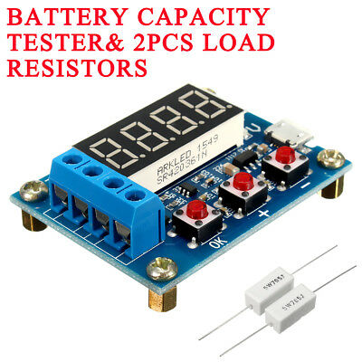 Battery Capacity Meter Discharge Tester 18650 Li-ion Lithium + Load Resistors