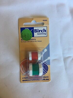 BIRCH Knitting Row Counters, 2 pieces, size 2 - 5mm & 5.50 - 7.50mm. new unused.
