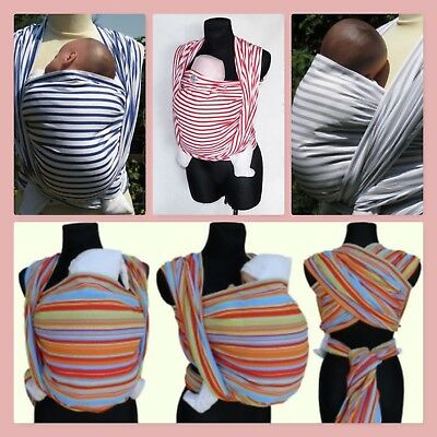 Striped Baby Wrap Sling 4.5M Size 6 Woven 100% Cotton Colourful Stripes