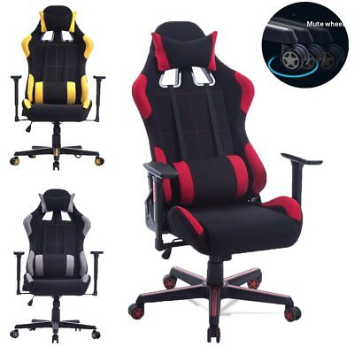 Office Racing Gaming Chair Ergonomic Highback Bucket Seat Computer Desk Footrest