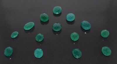 14 Piece Natural Green Onyx Faceted Oval Gemstone, 142 Cts. (CS-182)
