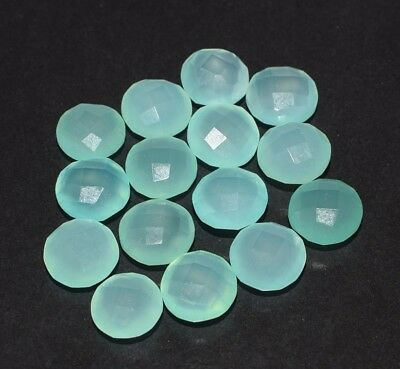 15 Piece Natural Aqua Chalcedony Faceted Round Gemstone, 43 Cts. (CS-159)