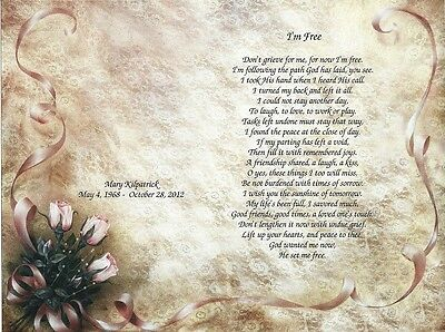 I'm Free Personalized Memorial Poem with Photo Section for Loss of Loved One