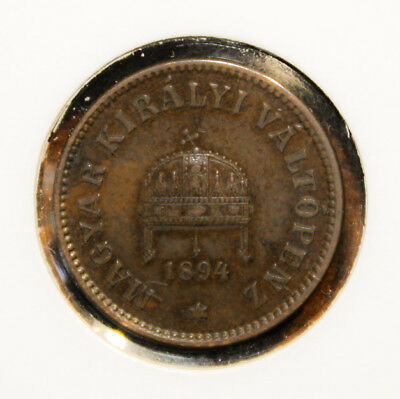 Hungary 2 Filler 1894-KB Extremely Fine + Coin - Crown of Saint Stephan