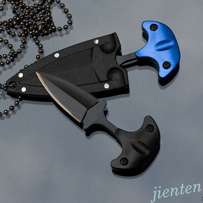 Mini Double Edge Dagger Fixed Blade Neck Knife Drop Point Outdoor Survival Tools