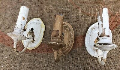 Vintage Brass Electric Wall Sconce Light Fixture x 3 Leviton Antique Three Old