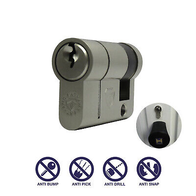 40/10 50mm Garage Door Euro Cylinder Lock Barrel Anti Snap Hormann Half