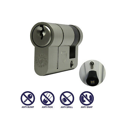 30/10 40mm Security Garage Door Euro Cylinder Lock Barrel Anti Snap Hormann Half